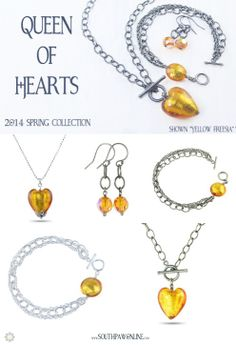"New 2014 Spring Collection : ""Queen of hearts"" Truly a heart of gold. shown in Yellow Freesia at http://southpawonline.com/collections/queen-of-hearts"