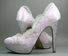 Paradise Pink Platform Wedding Shoes with Silver Lace Overlay and Silver Rhinestone Covered Heels and Platform