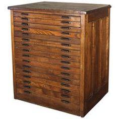 Vintage Industrial Hamilton Wood Flat File Multi Drawer Storage Cabinet