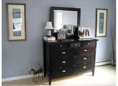 Pewter Sage Dresser Decor In Master Bedroom