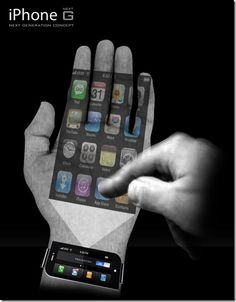 Could this be the end of handsets? A phone that sits on your wrist and projects the phone screen on to your palm. Just a concept at the moment. Not sure if I like the idea of using your hand as a phone.