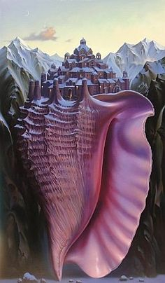 Vladimir Kush - Above the Sea Level - This painting reconstructs the human brain where the border between consciousness & unconsciousness floats at sea level.