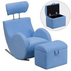 Buy the Delacora Matte Blue Direct. Shop for the Delacora Matte Blue Hercules 18 Inch Wide Plastic Framed Fabric Rocking Chair with Ottoman Storage and save. Turquoise Fabric, Blue Fabric, Kids Playroom Furniture, Womb Chair, Storage Chair, Play Kitchen Sets, Chair And Ottoman Set, Kids Bookcase, Kids Seating