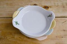 #Tegamini per uova in #porcellana; decoro Officinali e d'intorni e Millecolori Pastello. www.ancap.it