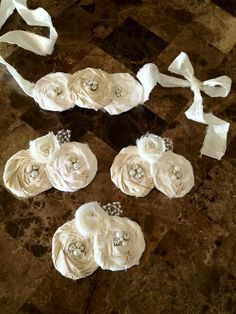 SET for Baptism Dedication Christening Headband by rosartcreations