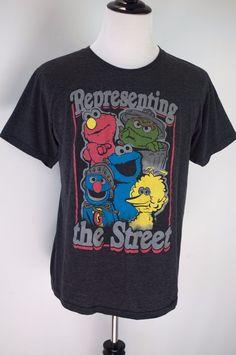 Sesame Street Representing The Street T Shirt Adult Size L Elmo Oscar Big Bird #SesameStreet #GraphicTee
