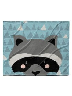 Raccoon Velveteen Blanket by Kavka Designs at Gilt