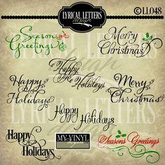 DIGITAL DOWNLOAD ... Christmas greeting vectors in AI, EPS, GSD, & SVG formats @ My Vinyl Designer #myvinyldesigner #lyricallettersdesign