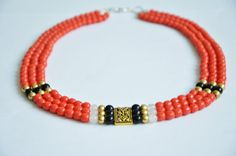 Ancient beads necklace (Briare enamel) red/coral color, black quartz, white jade, brass and tibetan silver,HandMade