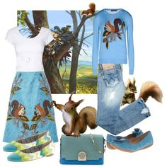 A fashion look from October 2014 featuring long sleeve tops, crop top и blue skirt. Browse and shop related looks.
