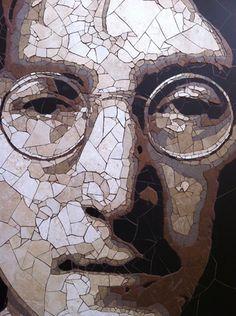 John Lennon in stone tile          #mosaic #art