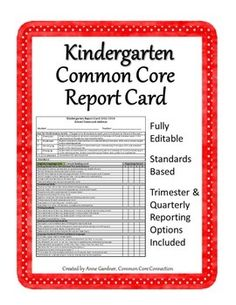 Free Report Card Template  Kindergarten Assessment Kindergarten