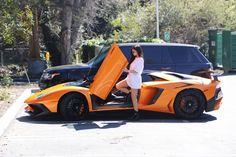 Kylie Jenner #KylieJenner Stepping Out of Her Orange Lamborghini Aventador Roadster  Los Angeles 11/03/2017 Celebstills K Kylie Jenner