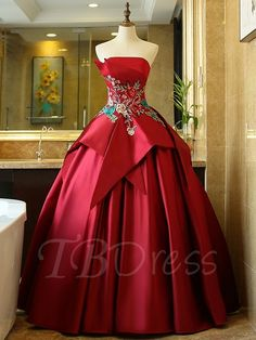 Ericdress Straplesss Ball Gown Embroidery Quinceanera Dress BUY NOW Ball Gown Dresses, Prom Dresses, Formal Dresses, Wedding Dresses, Gown Wedding, Pretty Dresses, Beautiful Dresses, Robes Quinceanera, Vintage Ball Gowns