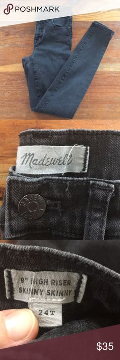 """Black Madewell 9"""" high riser skinny jeans Well worn/washed so the color is faded, but evenly, as a dark grey/ faded black. Size 24T. Still have lots of life left! Waist is 12"""" flat Madewell Jeans Skinny"""