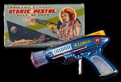 """Friction Powered Atomic Pistol with Spark"", 1950s, T.N. (Nomura), Japan. https://www.google.co.uk/search?q=Friction+Powered+Atomic+Pistol+with+Spark+1950s+Japan&biw=1366&bih=622&source=lnms&tbm=isch&sa=X&ei=-_EBVbabF8zdau2ggMgP&ved=0CAYQ_AUoAQ"