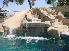 Swimming Pool Rock Waterfall and Slide Custom Rocked Pool Slides Backyard Pool Landscaping, Backyard Pool Designs, Swimming Pools Backyard, Swimming Pool Designs, Landscaping With Rocks, Landscaping Ideas, Lap Pools, Indoor Pools, Pool Decks