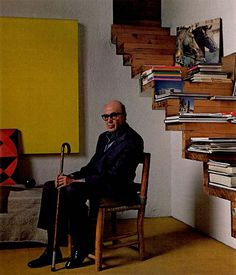 townandcountrymag: November, 1980. Luis Barragán sits in his stark, simple library with its mysterious flight of pinewood stairs that leads to a seldom opened door.