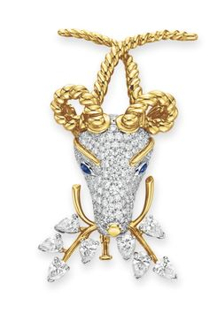 """A Diamond, Sapphire and Gold """"Gazelle"""" Brooch, by Jean Schlumberger, Tiffany & Co."""