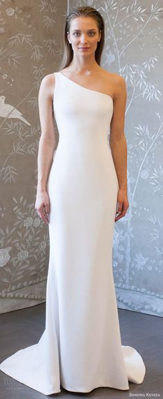romona keveza spring 2018 bridal one shoulder unembellished sheath wedding dress (rk8401) mv clean modern -- Romona Keveza Collection Spring 2018 Wedding Dresses