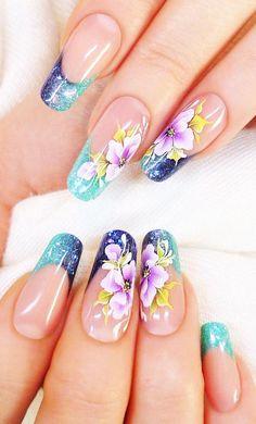 Cute Spring Nails, Summer Nails, Nail Swag, Fancy Nails, Pretty Nails, Turquoise Nail Designs, Luminous Nails, Romantic Nails, Crazy Nail Art