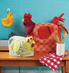 chicken appliance covers KwikSew 0152 make red barn cover for grinder, silo for crockpot