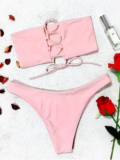 9b9b674bdc Back Lace-up Bandeau Bikini Set - PINK S Bandeau Bikini Set