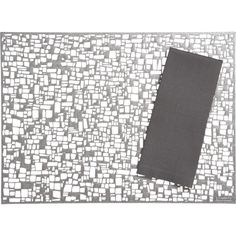 Chilewich® Cubic Gunmetal Placemat and Lustre Silver Napkin in Placemats | Crate and Barrel