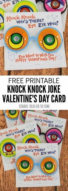 Who doesn't love a good joke? Use funny glasses from the dollar store or googly eyes to dress up these funny knock knock valentines for kids. These free printable Valentine cards are sure to bring laughter to the school Valentine's Day party.