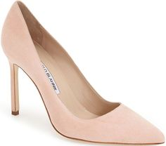 Manolo Blahnik BB Pointy Toe Pumps Blush Suede