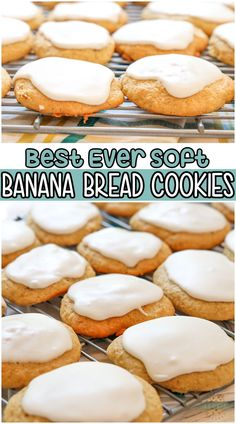 Banana Bread Cookies are soft, sweet cookies made with ripe bananas and topped with a simple vanilla glaze. They're everything you love about Banana Bread, but in cookie form! #cookies #banana #bananabread #baking #easyrecipe from FAMILY COOKIE RECIPES Easy Desserts, Delicious Desserts, Dessert Recipes, Banana Bread Cookies, Chocolate Chip Cookies, Sweet Cookies, Iced Cookies, Recipes Using Fruit, Vanilla Glaze