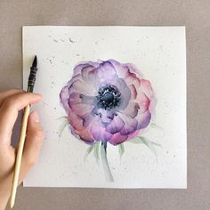 Free hand watercolor drawing Again I don't know the name of the flower