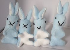 Baby Bunny Toys-Blue Fleece-Boy or Girl Toys-Welcome to World Toys-Safe-Washable-Pram Toys-Cot Toys-Baby Shower Gift-Stocking Stuffer s