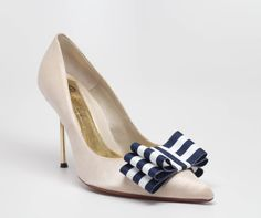 Nautical Stripes Navy and White Ribbon Bow Shoe by Chuletindesigns