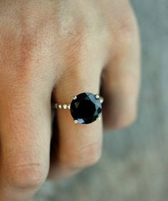 I want! Black spinel and silver cocktail ring
