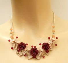 Roses Dark Red Necklace Flower Jewelry Dark Red by insoujewelry