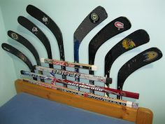 headboard from broken hockey sticks