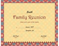1000 images about family reunion on pinterest family for Free family reunion certificates templates