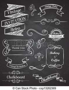 Vector - Chalkboard Hand drawn vintage vector elements - stock illustration, royalty free illustrations, stock clip art icon, stock clipart icons, logo, line art, EPS picture, pictures, graphic, graphics, drawing, drawings, vector image, artwork, EPS vector art