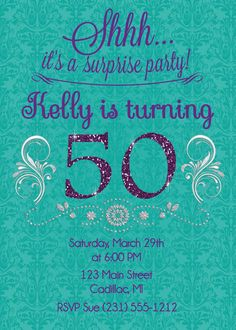 50th Birthday Invitation for Adult Birthday Party - Custom Invitation DIY or Printed