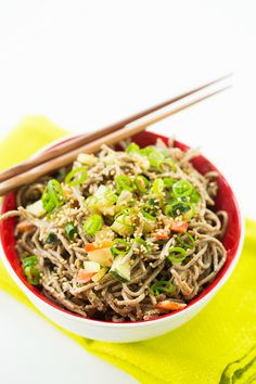 Cold Soba Noodle Salad with Spicy Peanut Sauce | browneyedbaker.com #recipe
