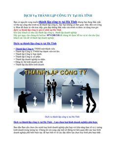 Dịch vụ thành lập công ty tại Hà Tĩnh - Thành lập doanh nghiệp giá  rẻ