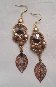 "Perfect gift for boho chicks. Dangle Earrings – earrings ""Isabelle"" pink gold swarovski crystal – a unique product by AuxptitsArtistesBijoux via en.DaWanda.com"