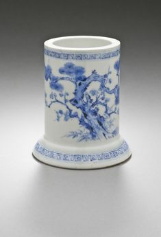 Cylindrical Brush Holder with Flaring Base, Plum, Bamboo, Pine Design Japan, 19th century Hirado ware; porcelain with underglaze blue   LACMA Collections