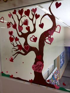 Window Art:  Valentines Wish Tree.  Each teen wrote what they wished for for Valentines day on a heart.