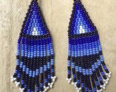 huichol beaded earrings 4 long by ArtesaniasBatyah on Etsy