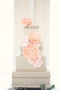 Ecru Colored Square Wedding Cake   photography by http://twobirdstudio.com