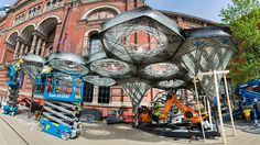 the 'elytra filament pavilion' has been conceived by experimental german architect achim menges with moritz dörstelmann, structural engineer jan knippers, and climate engineer thomas auer.