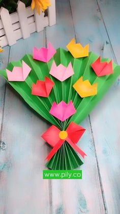 origami easy step by step Paper Flowers Craft, Paper Crafts Origami, Paper Crafts For Kids, Origami Art, Craft Activities For Kids, Preschool Crafts, Flower Crafts Kids, Origami Flowers, Easy Halloween Crafts