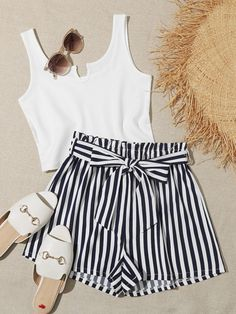 Shop Ribbed White Tank & Striped Shorts at ROMWE, discover more fashion styles online. Girls Fashion Clothes, Girl Fashion, Fashion Outfits, Romwe, Live In Style, White Tank, Striped Shorts, Cargo Pants, Short Dresses